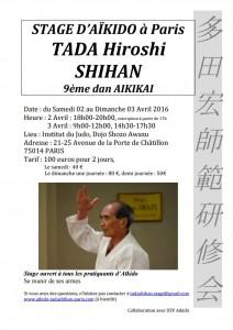 Stage International avec Hiroshi Tada (9ème dan) 2 et 3 Avril