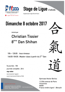 Stage Régional ligue IDF dirigé par Christian Tissier 8ème dan Shihan et présentation de la saison